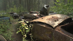 auto junkyard forest, atmospheric, busy scene, medium shot - stock footage