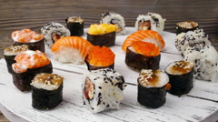 Plate of Sushi  Stock Footage