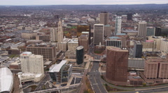 Aerial orbiting view of downtown Hartford, CT. Shot in 2011. Stock Footage