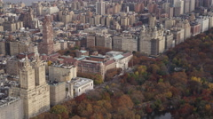 Over Central Park, approaching the Museum of Natural History. Shot in 2011. Stock Footage