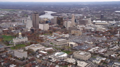 Aerial approach to Hartford CT from the west. Shot in 2011. Stock Footage