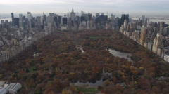 Flying over Central Park toward Midtown and Lower Manhattan,. Shot in 2011. Stock Footage