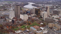 Aerial flyover of Hartford, CT from the west. Shot in 2011. Stock Footage