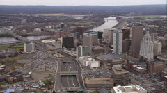 Approaching downtown Hartford, Connecticut. Shot in November 2011. Stock Footage