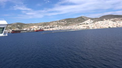 Entering Port of Syros Island in Greece Stock Footage