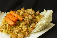 Chinese noodle chicken meat with vegetables detail Stock Photos