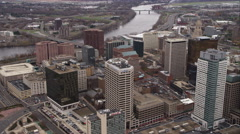 Over downtown Hartford, Connecticut. Shot in November 2011. Stock Footage