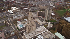 Orbiting Travelers Tower in downtown Hartford, Connecticut; Center Church and Stock Footage