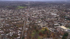 Over suburbs southwest of Hartford, Connecticut. Shot in November 2011. - stock footage