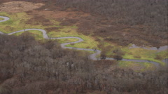 Over meandering river near Plainville, Connecticut. Shot in November 2011. Stock Footage