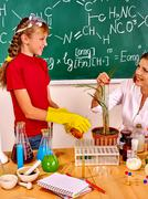 Child in chemistry class Stock Photos