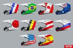 Set of Motorcycle Helmets Stock Illustration
