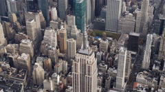 Flying over the top of the Empire State Building. Shot in 2011. - stock footage