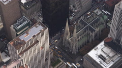 Rotating above St. Patrick's Cathedral, New York City. Shot in 2011. - stock footage