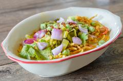 Khao Soi Recipe, Thai Northern Style Curried Noodle Soup with Chicken - stock photo