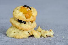Stock Photo of Stack of Homemade Fruitcake Cookies
