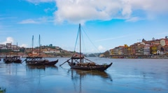 Traditional transport boats in Porto Stock Footage