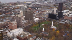 Aerial view of Church on the Green, New Haven, CT. Shot in 2011. Stock Footage