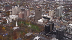 Stock Video Footage of Aerial view of Church on the Green and downtown New Haven, CT. Shot in 2011.