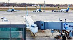 Boryspil, Ukraine. Aircraft ground handling - stock photo