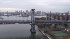 Flying over Williamsburg Bridge, looking back toward Projects. Shot in 2011. Stock Footage