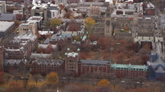 Over New Haven Green and Yale University in New Haven, Connecticut. Shot in Stock Footage