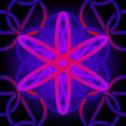 neon tile atom - stock illustration