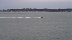 Flying southwest of New Haven, Connecticut, boat n water. Shot in November 2011. Stock Footage