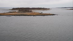 Over Norwalk Islands off the coast of Bridgeport, Connecticut. Shot in November Stock Footage