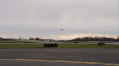 Plane landing at Westchester County Airport in Greenwich, Connecticut. Shot in Stock Footage