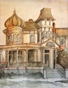Victorian large romantic large drawing. - stock illustration