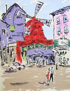 Moulin rouge. Paris, puirple and orange painting. - stock illustration
