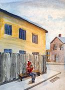 Spring town and man on the bench Stock Illustration
