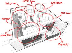 Apartment diagram with hand drawn notes Stock Illustration