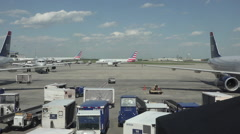 American Airlines aircraft taxi Dulles International Airport HD Stock Footage