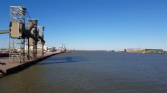 View along the pier in Galveston Harbor Stock Footage