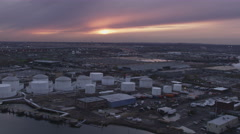 Past industrial area in Newark, New Jersey at dusk. Shot in November 2011. Stock Footage