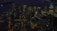 Over the New York Financial District at night. Shot in November 2011. Stock Footage