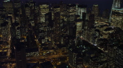 Over New York Financial District at night. Shot in November 2011. Stock Footage
