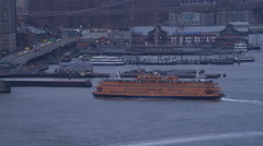 Staten Island Ferry approaching dock at dusk. Shot in 2011. Stock Footage