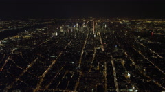 High flight north from Financial District toward Midtown Manhattan at night. Stock Footage