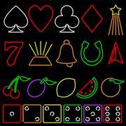 Stock Illustration of Neon gambling symbols