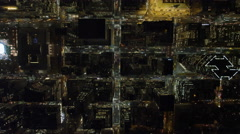 Looking straight down on Midtown Manhattan near Rockefeller Center at night. Stock Footage
