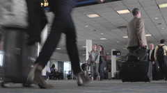 Passenger crowd Dulles International Airport terminal HD Stock Footage