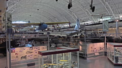 Smithsonian Air Space Museum aircraft and educational display HD Stock Footage