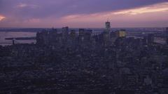 Approaching Financial District in Lower Manhattan at dusk. Shot in 2011. Stock Footage