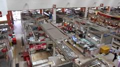 Overhead Pan of Tekka Centre wet market in Little India Singapore Stock Footage