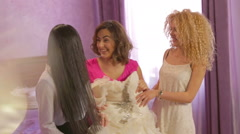 Beautiful Girls Laughing At Bachelorette Party. Before wedding. Stock Footage