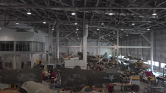 Air and Space Smithsonian Museum aircraft repair facility HD Stock Footage