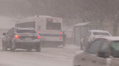 Severe weather blizzard and snowstorm in the city Stock Footage